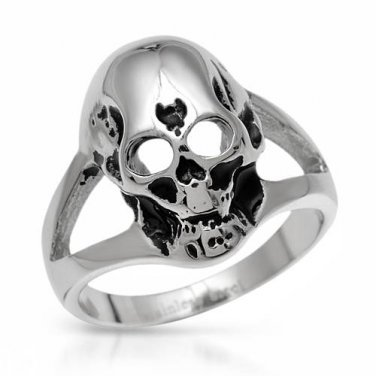 GENTLEMEN�S SKULL RING CRAFTED IN STAINLESS STEEL AND BLACK ENAMEL US-12 - FREE SHIPPING