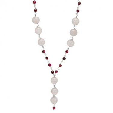18� NECKLACE WITH 74.43 CTW AGATES AND GARNETS IN 925 QUALITY STERLING SILVER - FREE SHIPPING