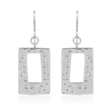STERLING SILVER FISH HOOK RECTANGULAR EARRINGS WITH TEXTURED AND CUT-OUT DETAILS - FREE SHIPPING