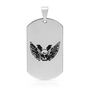 GENTLEMEN�S METALLIC COLOR STAINLESS STEEL PENDANT WITH ETCHED WINGED SKULL DESIGN - FREE SHIPPING