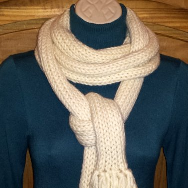 FRENCH CONNECTION OFF WHITE WOOL BLEND UNISEX TASSELED SCARF OS - FREE SHIPPING