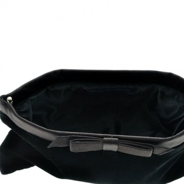 FRENCH CONNECTION SMALL CLUTCH VELVET BLACK HANDBAG OS - FREE SHIPPING