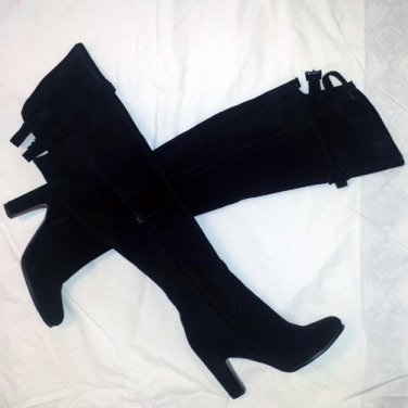 SAM EDELMAN S-SUTTON WOMEN�S BLACK SUEDE OVER THE KNEE SIDE ZIP HIGH HEEL BOOTS 6M - FREE SHIPPING