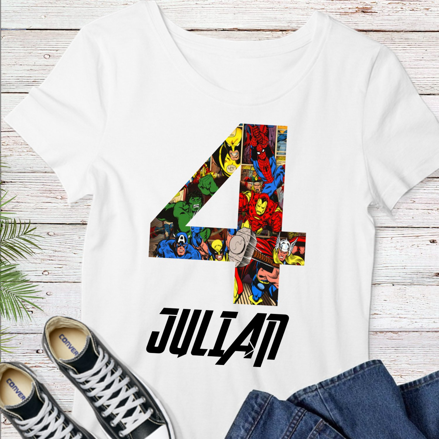 Personalized Marvel Superhero Comic Tee Shirt Digital Printable Transfer Iron-On Heat Ready to Press