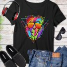 Cool Lion Colorful Abstract Eyeglass Vector Tee Shirt Design Graphic Instant Download Transfer D1