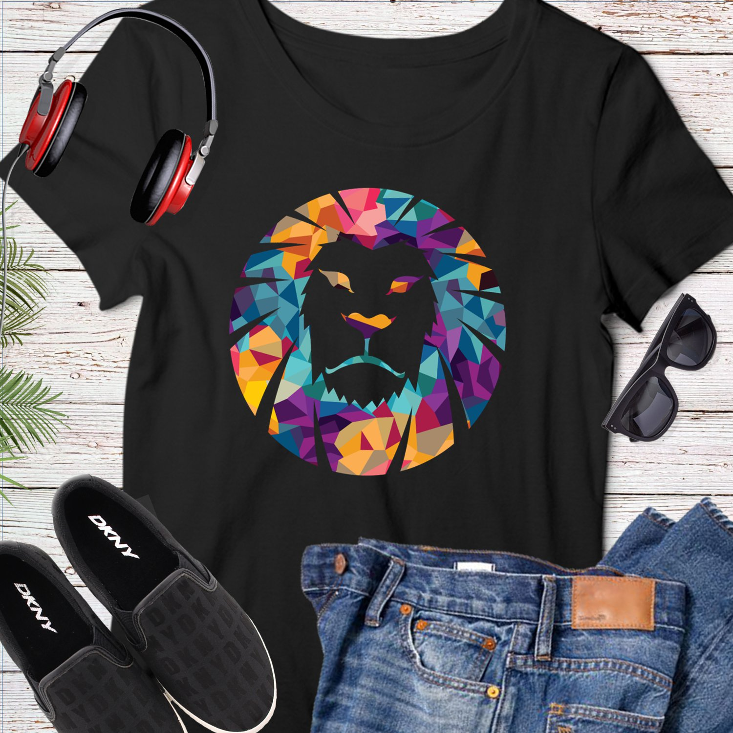 Cool Lion Colorful Abstract Eyeglass Vector Tee Shirt Design Graphic Instant Download Transfer D2