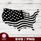 American Flag Design 1 SVG PNG Silhouette Cut Files Cricut Vector Graphic Clipart Instant Download