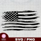 Distressed American Flag 2 SVG PNG Silhouette Cut Files Cricut Vector Clipart Instant Download