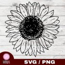 Sunflower Design 1 SVG PNG Silhouette Cut Files Cricut Vector Graphic Clipart Instant Download