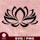 Lotus Flower Design 1 SVG PNG Silhouette Cut Files Cricut Vector Graphic Clipart Instant Download