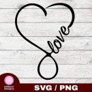 Infinity Love Heart Design 1 SVG PNG Silhouette Cut Files Cricut Vector Clipart Instant Download