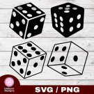 Dice Black & White Design 1 SVG PNG Silhouette Cut Files Cricut Vector Clipart Instant Download