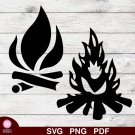 2 Bonfires Design 1 SVG PNG Silhouette Cut Files Cricut Vector Graphic Clipart Instant Download