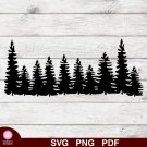 Pine Trees Design 2 SVG PNG Silhouette Cut Files Cricut Vector Clipart Instant Download Holiday