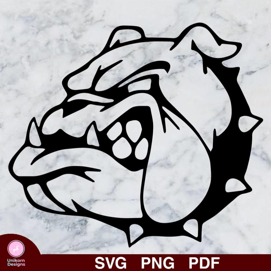 Dog Bulldog Head Design 1 SVG PNG Silhouette Cut Files Cricut Vector Graphic Instant Download