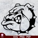 Dog Bulldog Head Design 1 SVG PNG Silhouette Cut Files Cricut Vector Graphic Instant Download