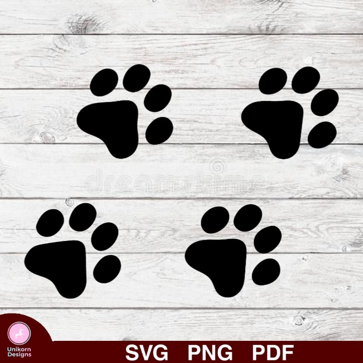 Dog Paws Design 1 SVG PNG Silhouette Cut Files Cricut Vector Graphic Clipart Instant Download