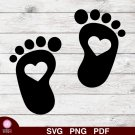Baby Feet Footprints Design 2 SVG PNG Silhouette Cut Files Cricut Vector Clipart Instant Download