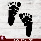 Baby Feet Footprints Design 3 SVG PNG Silhouette Cut Files Cricut Vector Graphic Instant Download