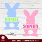 a3 Bunny Name Frame SVG PNG Instant Download Silhouette Cut Files Cricut Vector Graphic
