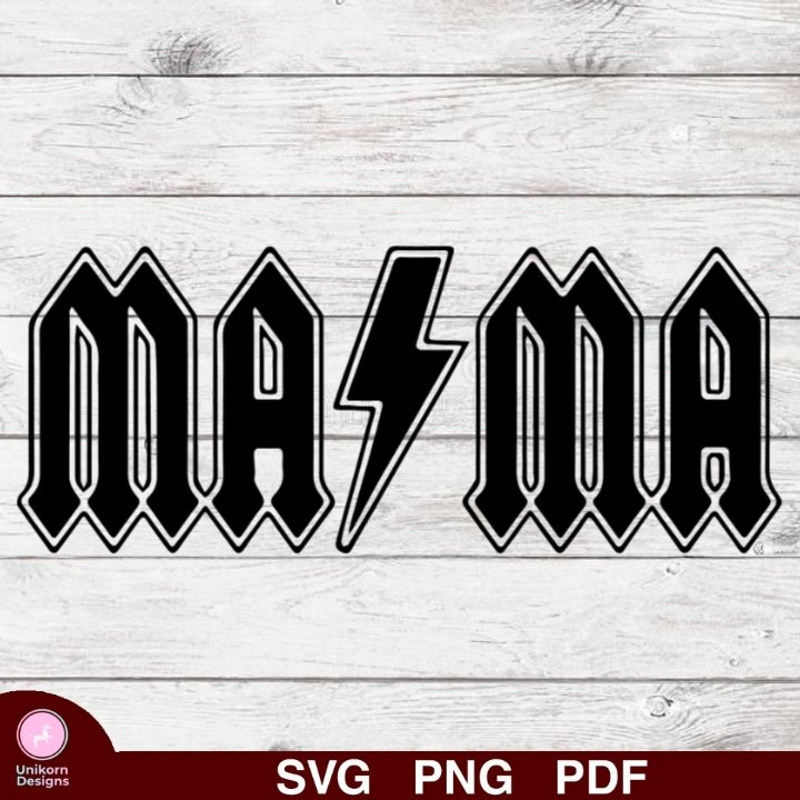 ACDC Mama Design 1 SVG PNG Silhouette Cut Files Cricut Vector Graphic Clipart Instant Download