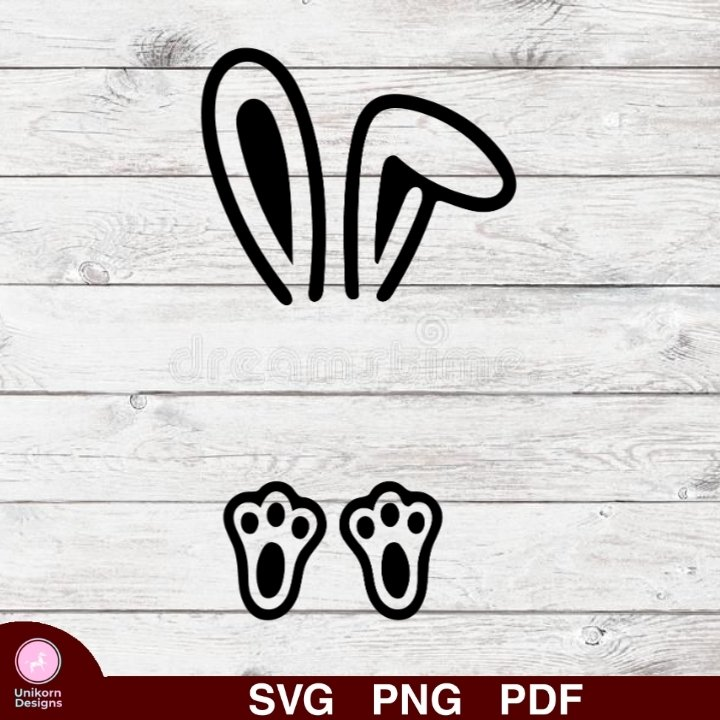 Bunny Rabbit Design 1 SVG PNG Silhouette Cut Files Cricut Vector Graphic Clipart Instant Download