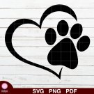 Dog Paw Heart Design 1 SVG PNG Silhouette Cut Files Cricut Vector Graphic Clipart Instant
