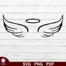 Angel Wings Halo Design 1 SVG PNG Silhouette Cut Files Cricut Vector Graphic Clipart Instant