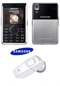 Samsung P310 Cell Phone (unlocked) - Black + World Smallest Bluetooth Headset (white)