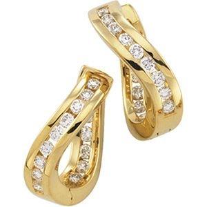 14k Yellow Gold Hinged Earrings W/diamonds