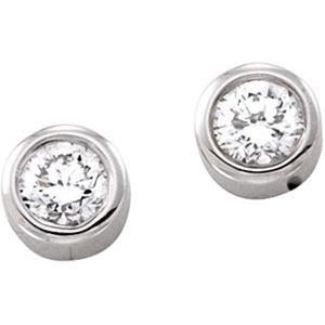 14k White Gold 1/2 Carat Diamond Solitaire Earrings