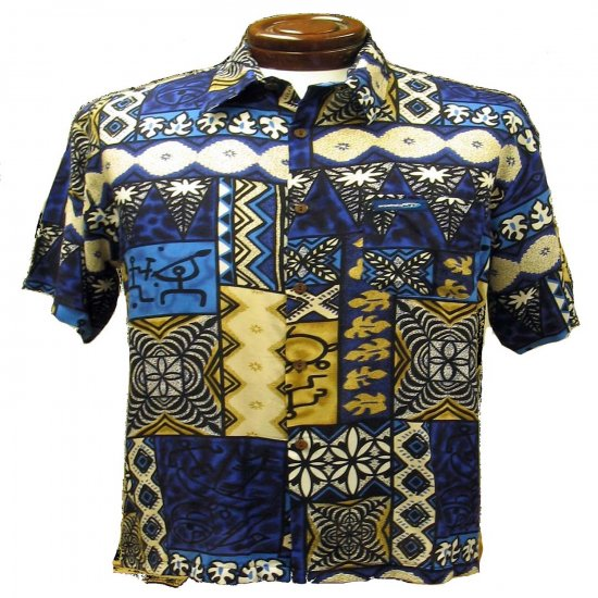 Navy Blue Tribal Print Hawaiian Aloha Shirt