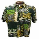 Green Tribal Tapa Print Hawaiian Aloha Shirt