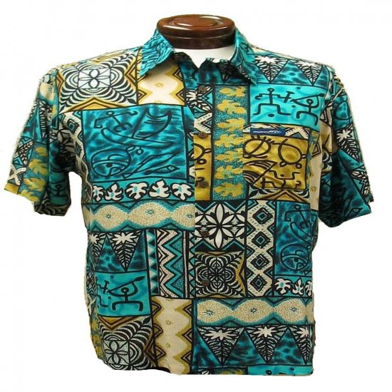 Turqoise and Gold Tribal Tapa Print Hawaiian Aloha Shirt