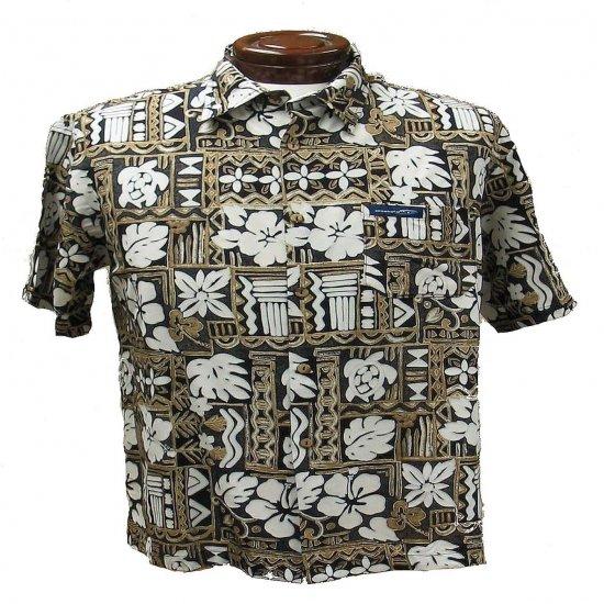 Brown + Black Tapa Print Hawaiian Aloha Shirt