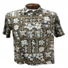 Brown + Black Tapa Print Hawaiian Aloha Shirt