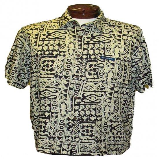 Tan and Black Tapa Print Hawaiian Aloha Shirt