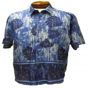 Blue Leaf Print Hawaiian Aloha Shirt