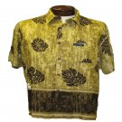 Brown and Gold Leaf Print Hawaiian Aloha Shirt