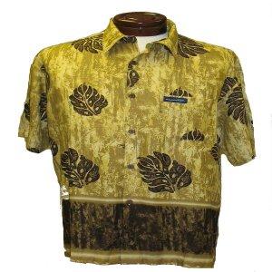 Brown and Gold Leaf Print Hawaiian Aloha Shirt