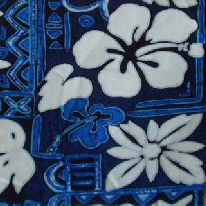 Blue Tapa and Floral Print Hawaiian Aloha Shirt