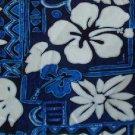 Blue Tapa and Floral Print Hawaiian Aloha Shirt