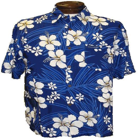 Blue and Gold Hibiscus and Plumeria Print Hawaiian Aloha Shirt