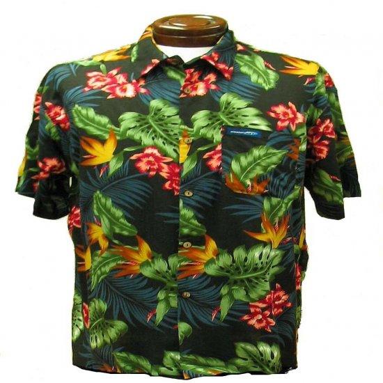 Dark Blue Floral and Leaf Print Hawaiian Aloha Shirt