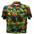 Dark Blue Floral and Leaf Print Hawaiian Aloha Shirt