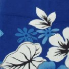 Blue and White Floral and Leaf Print Hawaiian Aloha Shirt