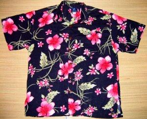 Mango Moon Blue Floral and Leaf Print Aloha Shirt