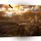 Abstract Landscape Eagles City At Night A1 Xlarge Canvas