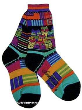 Laurel Burch Feline Friends Blue Socks
