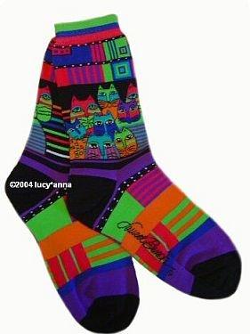 Laurel Burch Feline Friends Purple Socks